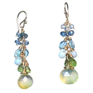 Aqua and Teal Gem Teardrop Earrings