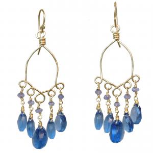 Blue Sapphire Chandelier Earrings With London Blue Quartz