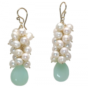 Aqua Pearl Drop Dangle Earrings