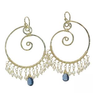 Customizable Swirl Hoop Earrings with Gems and Pearls