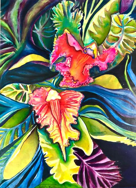 Fuschia Pink Orchid #1 Watercolor