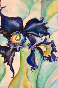 Garden Iris Orchid #1 Watercolor on Canvas