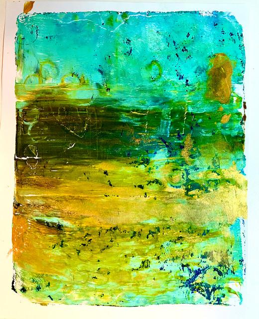 "Original Monoprint ""Cool Oceans"" #1"