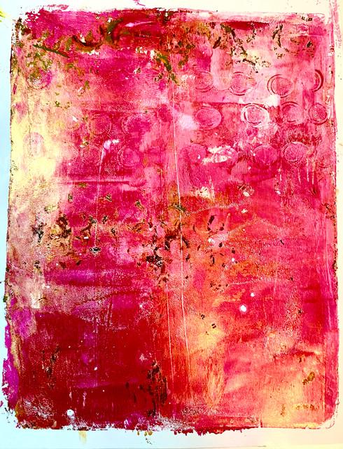 "Original Monoprint ""Pink & Gold Light"" #2 Series"