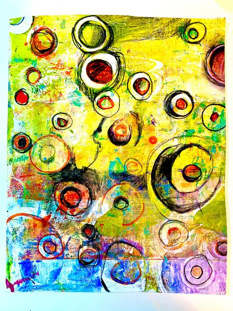 "Original Monoprints 'Ciricled Colors"" #1 Series"