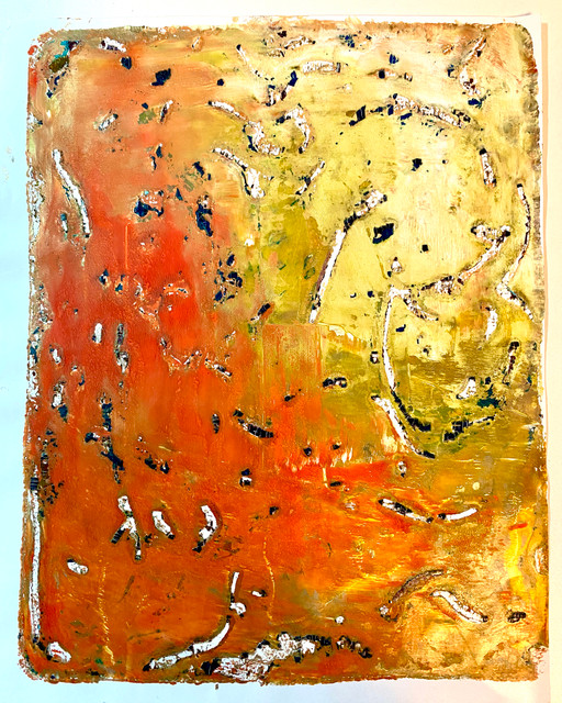 "Original Monoprints "" Yellow Orange Shadows"" #1 Series"