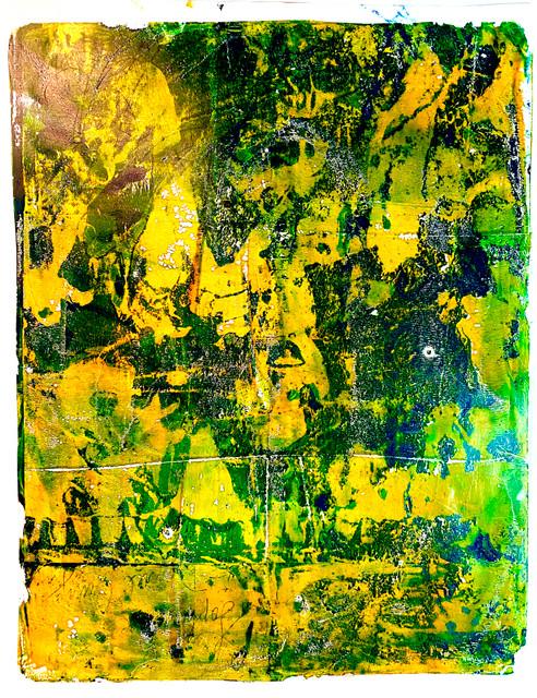 "Original Monoprint ""Mellow Green Yellow"" #1 Series"