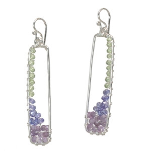 Rectangular Purple Drop Earrings