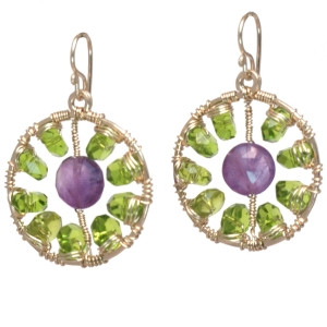 Round Amethyst and Green Drop Earrings,