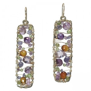 Rectangular Gemstone Earrings, Multi Colored