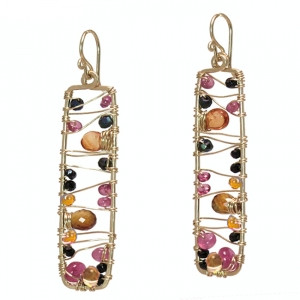 Rectangular Crystal Earrings with Warm Gems