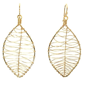 Leaf Shaped Earrings in Gold