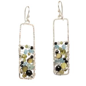 Multi-Gemstone Dangle Earrings