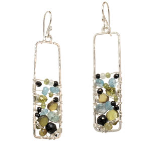 Multi-Gemstone Dangle Earrings