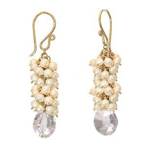 Pearl Drop Earrings with Keshi Pearls