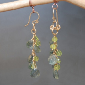 Green Drop Earrings with Mixed Gems