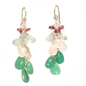 Princess Earrings with Sea Colored Gems