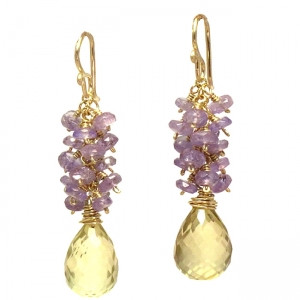Yellow Stone Dangle Earrings with Mixed Gems