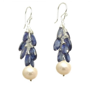 Blue Crystal Drop Earrings with Pearls