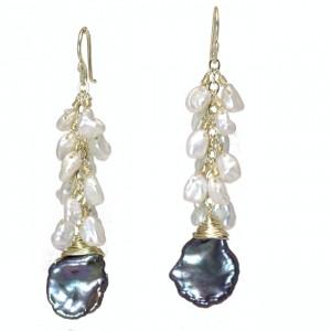 Black Pearl Dangle Earrings with Keshi Pearls