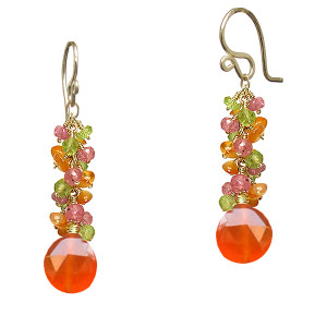 Orange Drop Earrings with Mixed Gems