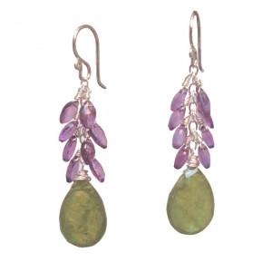 Purple and Green Jewelry Dangle Earrings