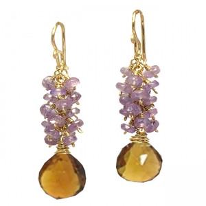 Purple and Orange Earrings, Dangle Style