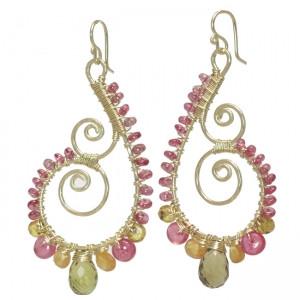 Multi Stone Dangle Earrings