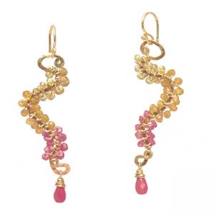 Gem Dangle Earrings with Fiery Stones