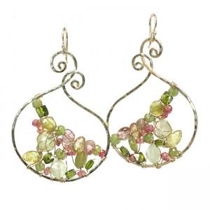 Mixed-Gem Dangle Earrings