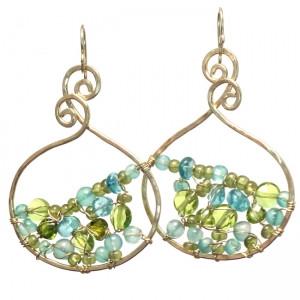 Gold Dangle Earrings with Aqua Gems