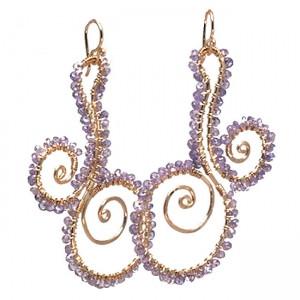Purple Crystal Dangle Earrings in Tanzanite
