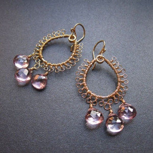 Gem Dangle Earrings with Pink Topaz Droplets