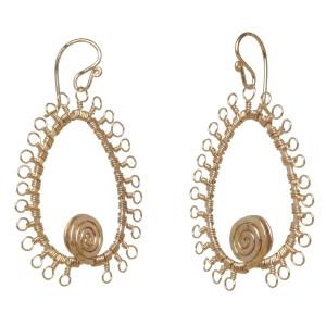 Gold Filigree Earrings With Swirls