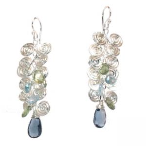 Blue Topaz Earrings with Filigree
