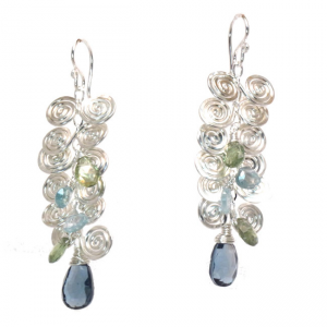 Blue Topaz Earrings with Filigree