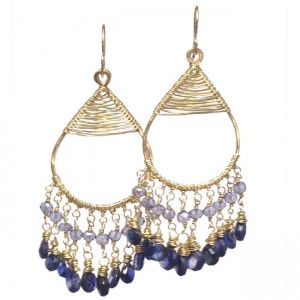 Sapphire Chandelier Earrings with Violet Iolite