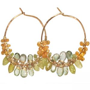 Mandarin Garnet Earrings with Multiple Gems