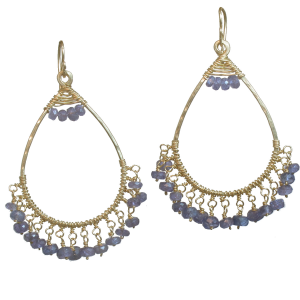 Violet Crystal Earrings in Gold or Silver (Iolite Shown)