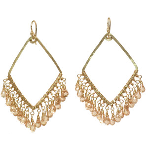 Champagne Crystal Drop Earrings - Gold Filled