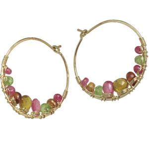 Jeweled Chandelier Earrings in Garden Tones