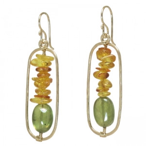 Amber Dangle Earrings with Green Garnet