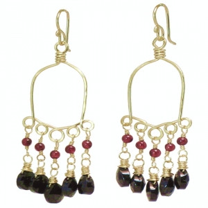 Black Gemstone Drop Earrings