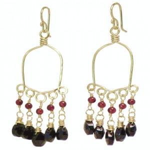 Black Gemstone Drop Earrings