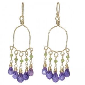 Purple Drop Gemstone Earrings