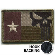 Olive drab punisher skull Texas flag patch with hook backing