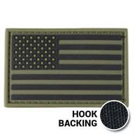 Olive drab PVC American flag patch with hook backing