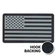Black and white PVC American flag patch with hook backing