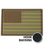 Multicam PVC American flag patch with hook backing