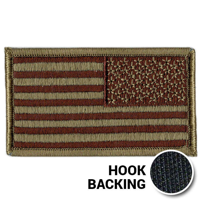 American Flag Patch - Embroidered - USAF OCP (Reversed w/ Hook Back)